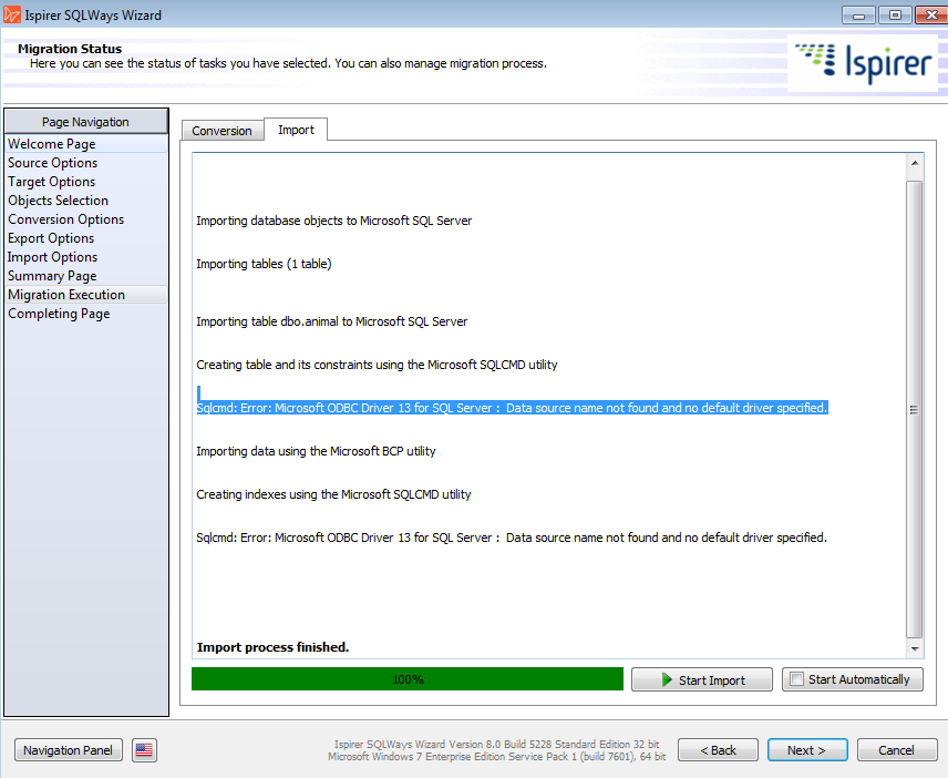 Microsoft ODBC Driver for SQL Server Not Found [Migration by