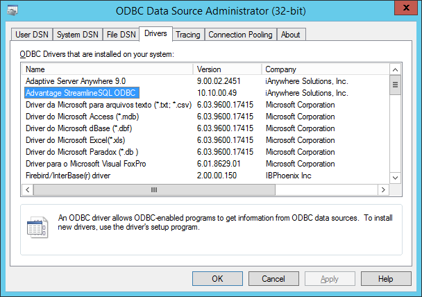Advantage ODBC Driver Installation [Migration by Ispirer