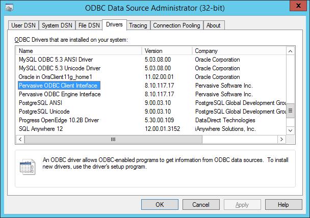 INSTALL PERVASIVE SQL ODBC DRIVER (2019)